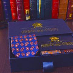 Hodvábny luxusný modro oranžový elegantný pánsky set