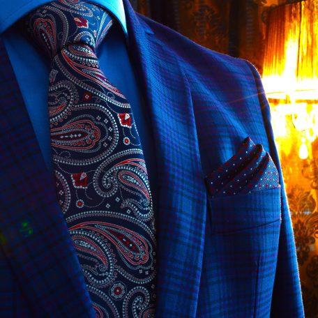 Luxusný hodvábny pánsky modro červený darčekový set