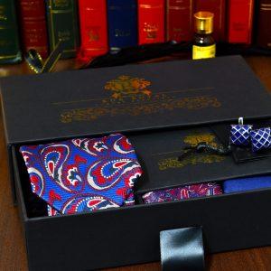 modro červený hodvábny pánsky darčekový set LOKI