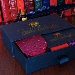červený pánsky hodvábny darčekový oblekový set foulard paisley
