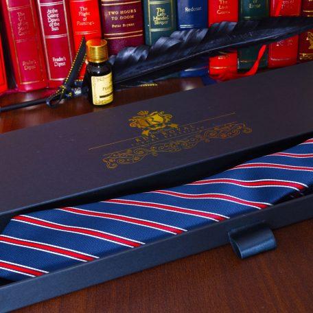 Modro červená elegantná luxusná hodvábna pánska kravata Kingsman 2021