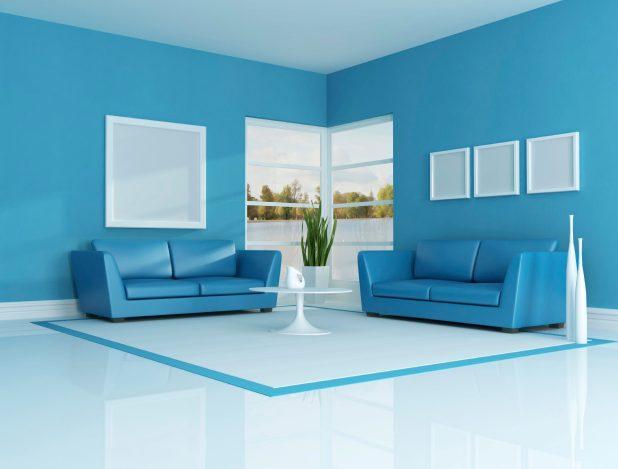 An all-blue living room