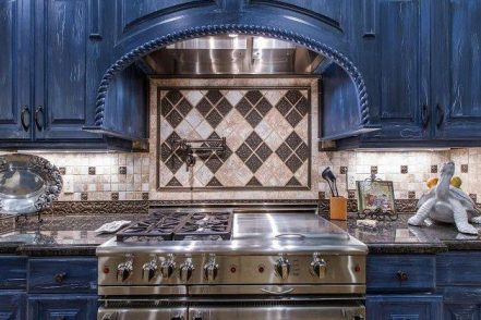 The blue-and-granite kitchen.