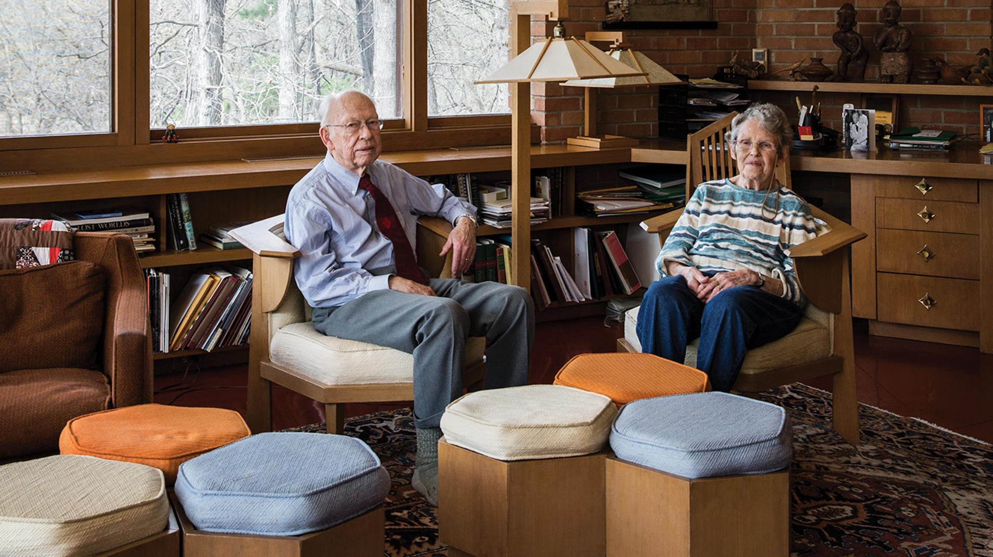 Paul and Helen Olfelt in their Minneapolis home designed by Frank Lloyd Wright