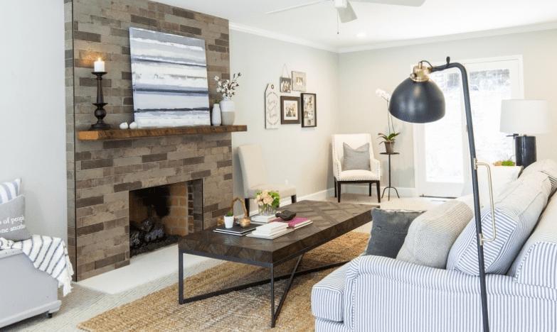 Jonathan Scott designs and installs a simple brick fireplace.