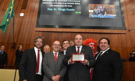 Assembleia homenageia os 110 anos do Sport Club Internacional e os 50 anos do estádio Beira-Rio