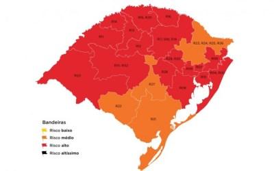 Mapa do distanciamento controlado mantém 17 regiões do RS em bandeira vermelha