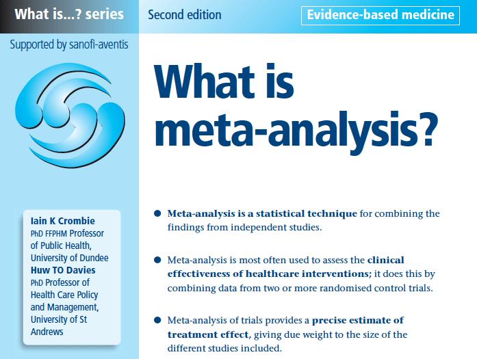 Meta Analysis Is To Analysis Richard David Feinman
