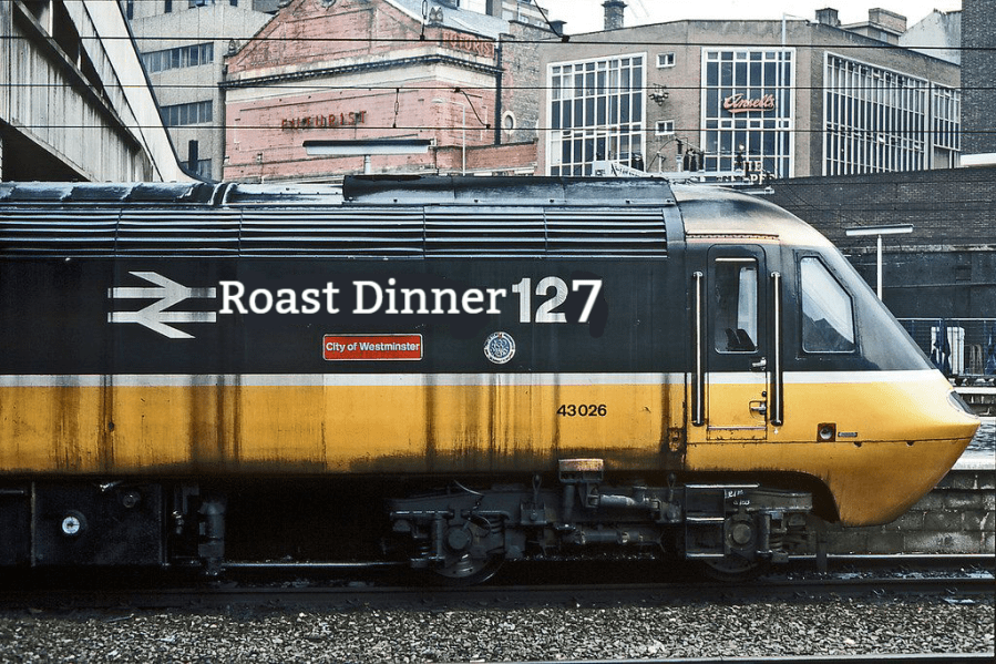Old Intercity train with Roast Dinner 127 written on it