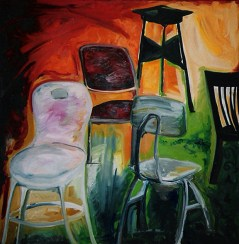 """""""Chairs In Class"""" oil on linen, 60 x 60 inches, 2000"""