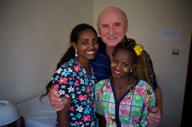 Joe Robertson (founder of the Adera Foundation) with Elisa and Adera co-worker Samrawit at the Adera daycare.