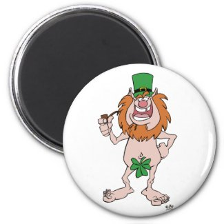 St Patrick Leprechaun (and Shamrock) Fridge magnet magnet