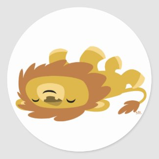 Cute Cartoon Lazy Lion round sticker sticker
