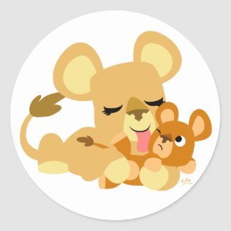 Baby Lion's Bath round sticker sticker