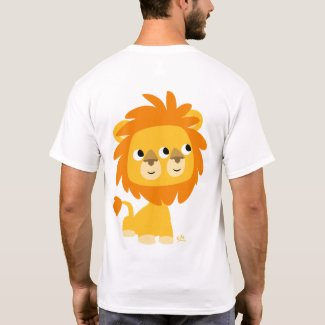 Two-Faced, the cuttest cartoon lion T-shirt (back) shirt