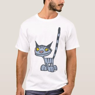 Grey Cute and Spooky Kitty cartoon T-shirt shirt