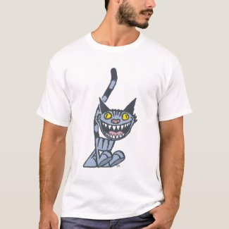 Smiling Grey Kitty cartoon T-shirt shirt