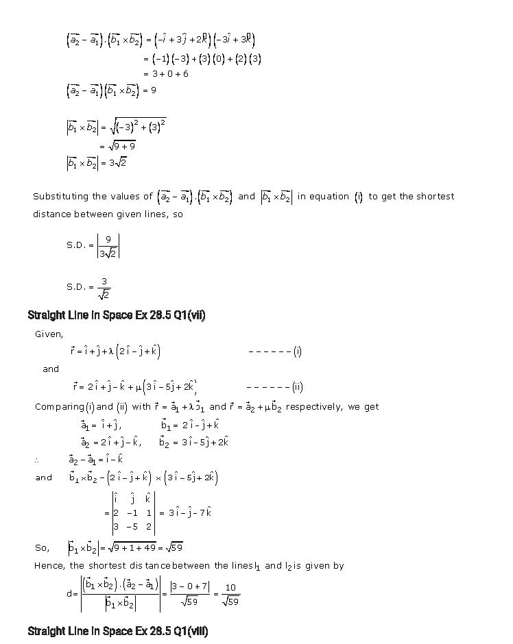 RD Sharma Class 12 Solutions Chapter 28 Straight Line In