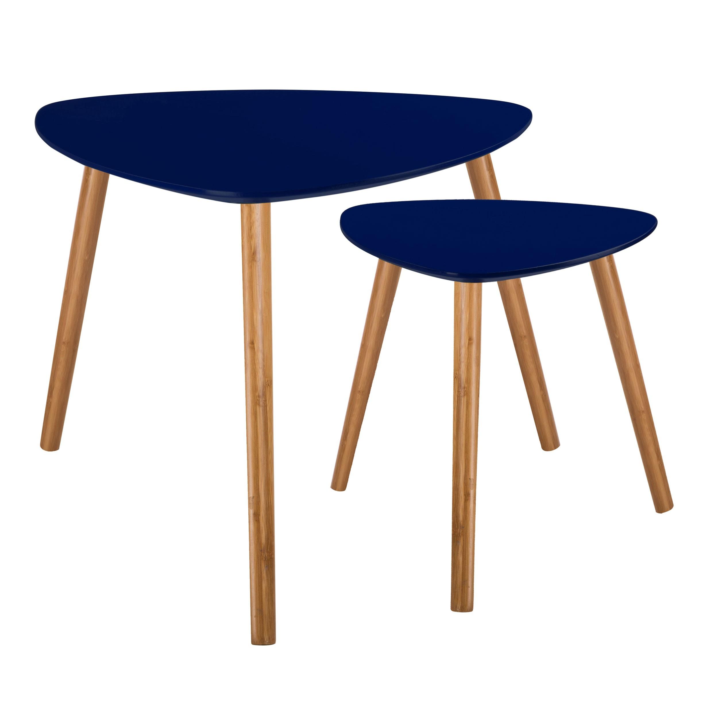 table basse scandinave bleu fonce lot de 2