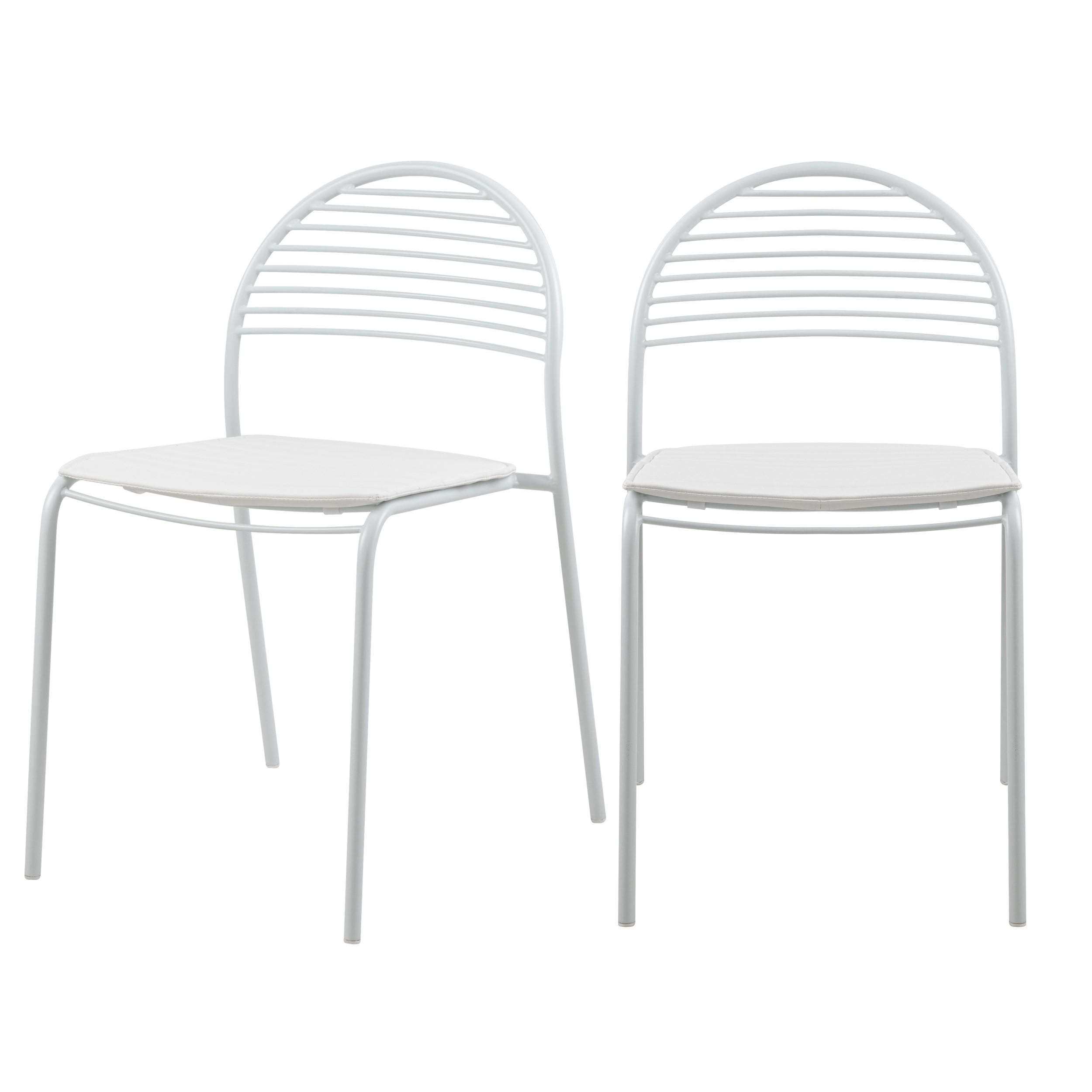 chaise en metal blanc elite lot de 2