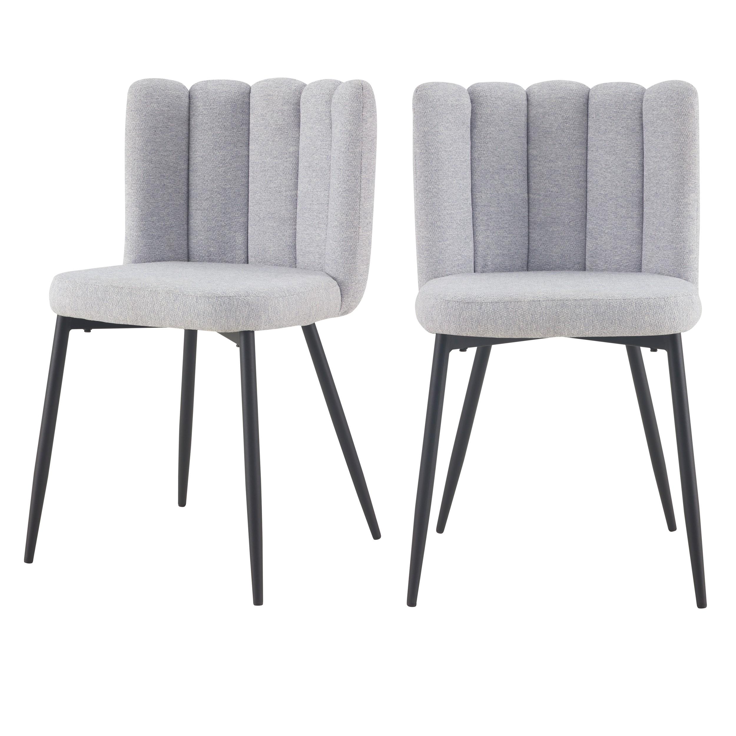 chaise rosy en tissu gris lot de 2