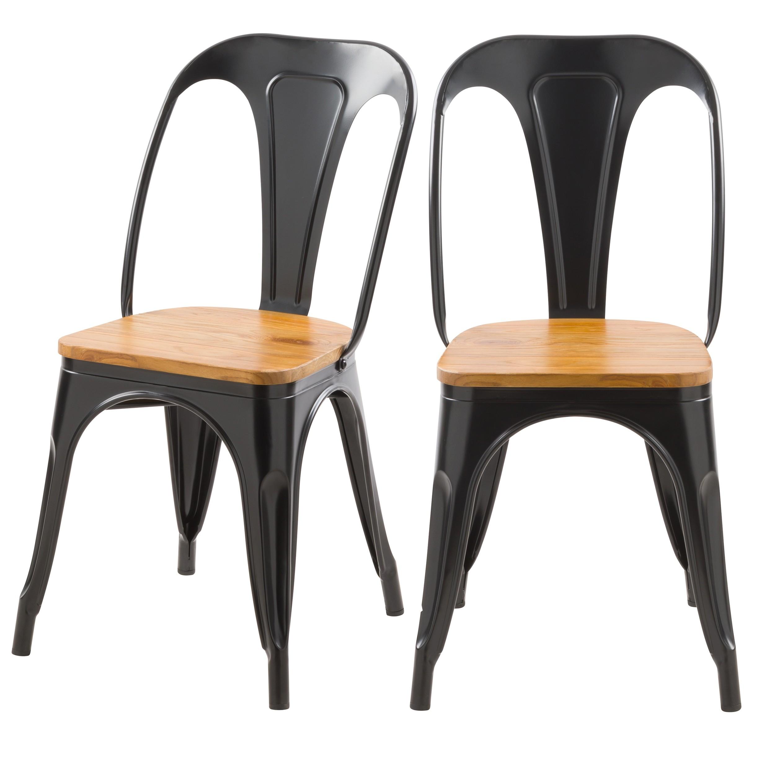 chaise indus yoanna noire et bois clair lot de 2