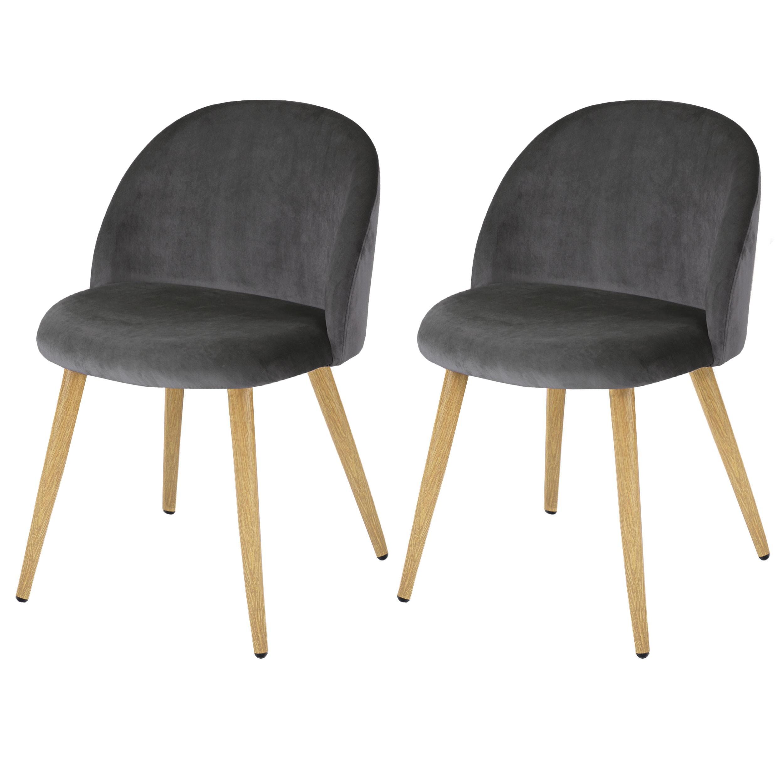 chaise cozy en velours gris lot de 2