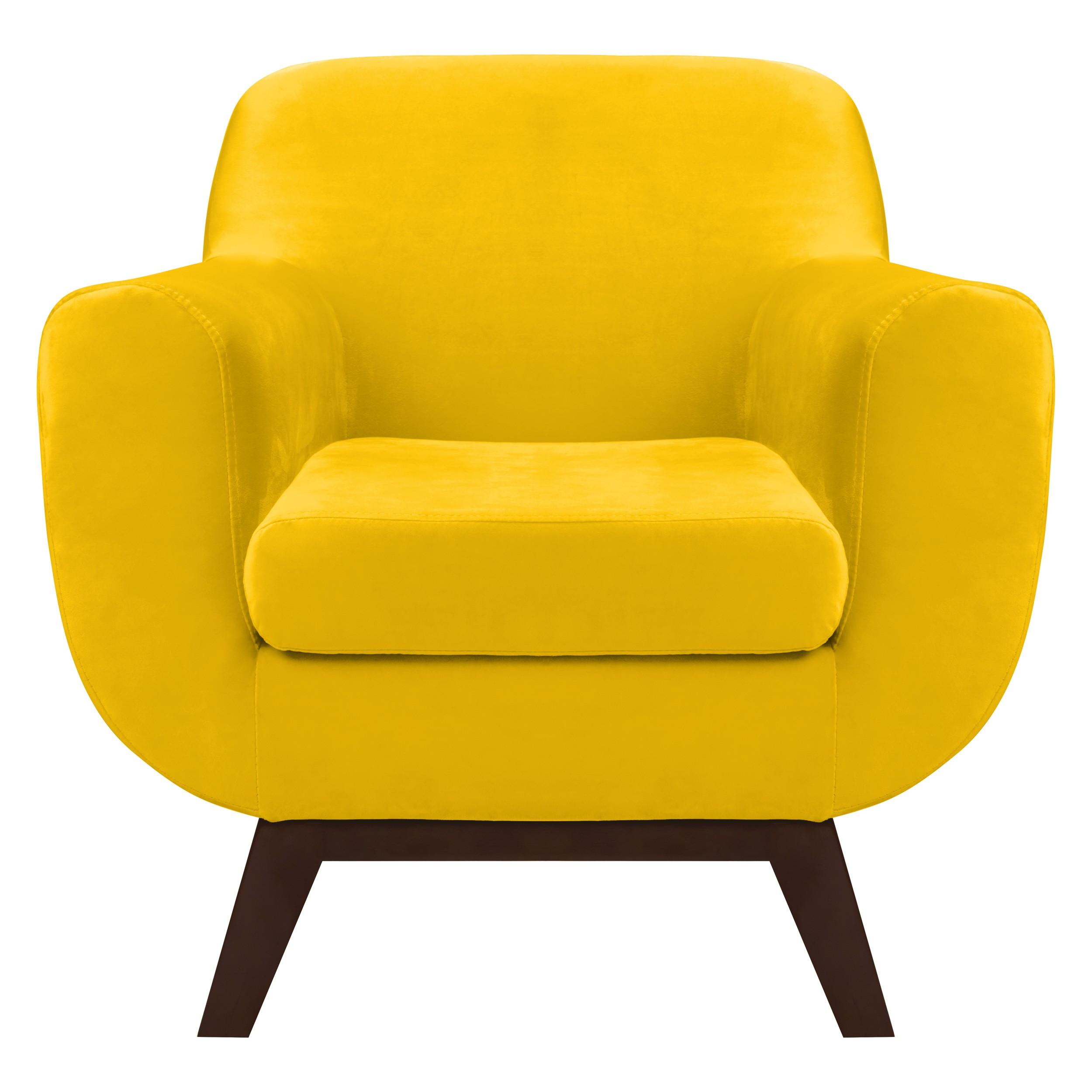 fauteuil copenhague en velours jaune