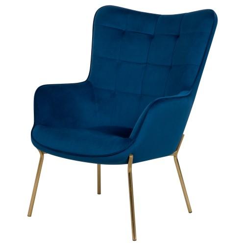 fauteuil octavia en velours bleu fonce