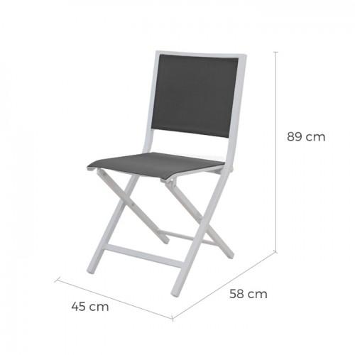 chaise pliante ida gris fonce blanc lot de 6