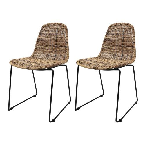 chaise chipie en resine tressee naturelle lot de 2