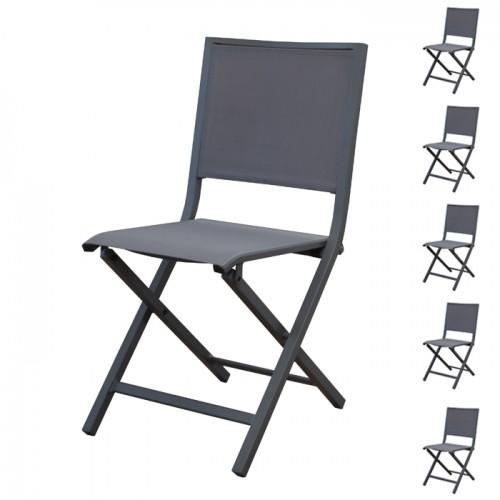 chaise pliante ida gris fonce lot de 6
