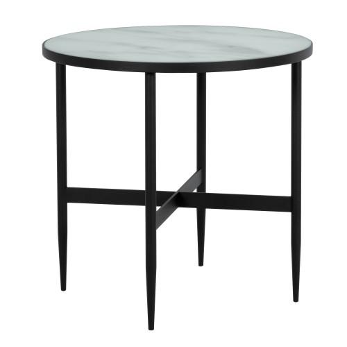 table basse ronde alaska en verre effet marbre et metal noir 50 cm