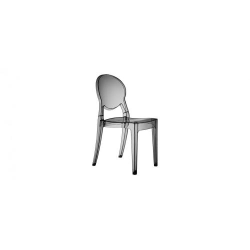 chaise medaillon plexi gris transparent lot de 4