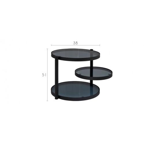 table basse noire avec plateau pivotant