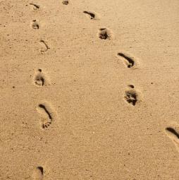 Nos pas dans le sable de la plade de Saint-Girons