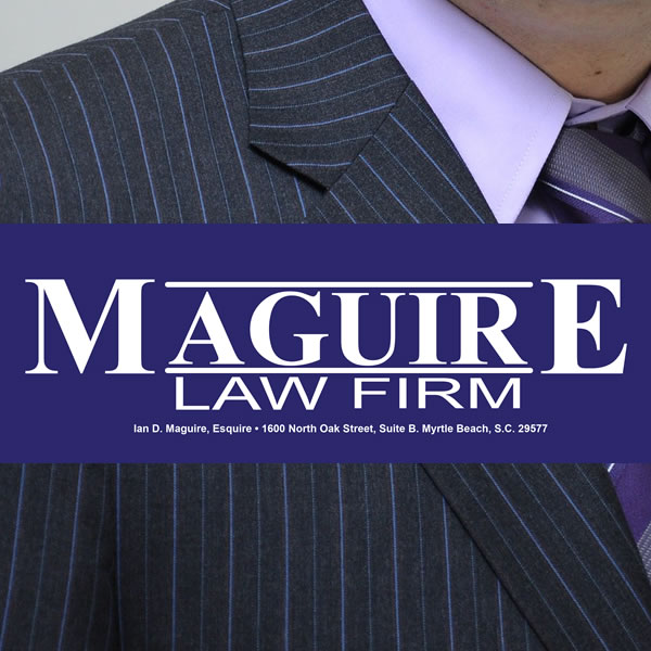 Maguire Law Firm logo with lawyer in background