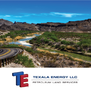Texala Energy LLC logo with desert landscape in the background
