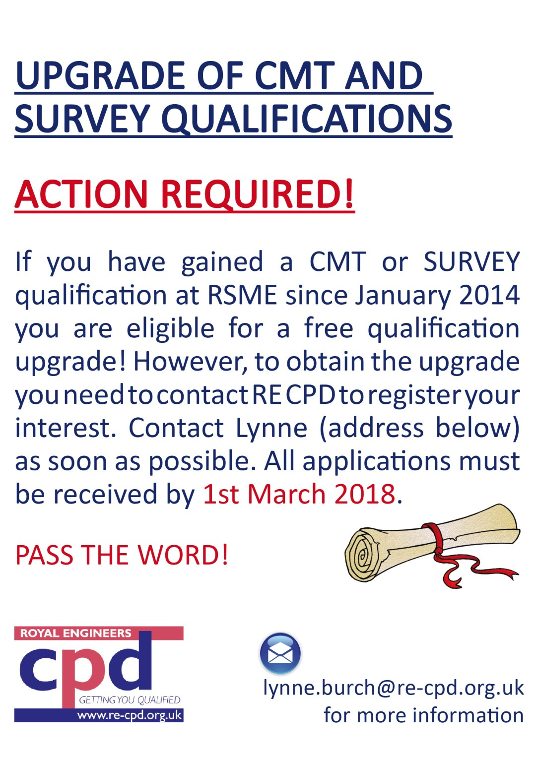 CMT/SURVEY ACTION REQUIRED!