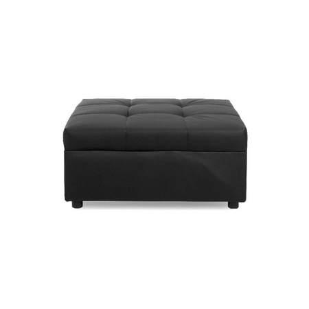 metro black leather square ottoman
