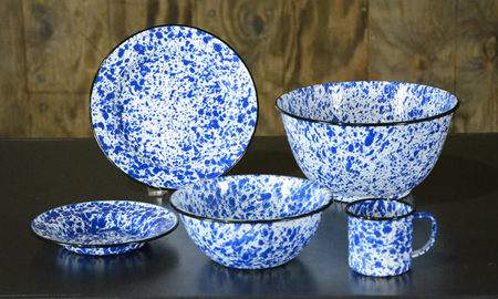 Speckled Blue Tin Dishware  Dinner Plate  China Rentals