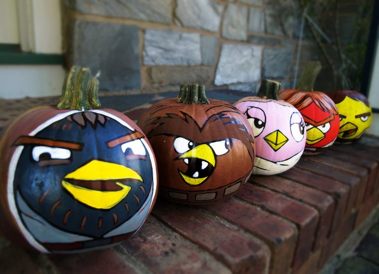 halloween with sandy star wars angry birds on pumpkins. Black Bedroom Furniture Sets. Home Design Ideas