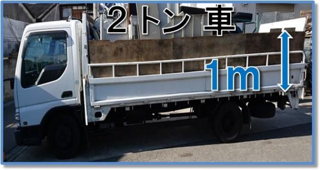 2トン車1メートル