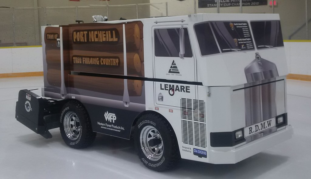 A School, an Arena and a Converted Zamboni with a Logging Truck Wrap