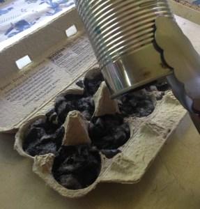 pour melted crayon wax into DIY firestarter
