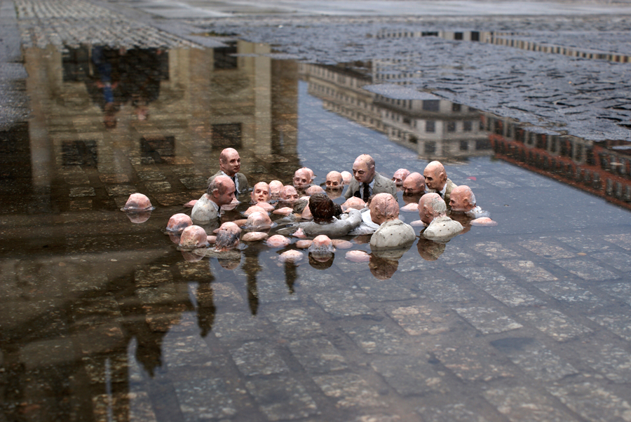 drowning politicians discuss global warming