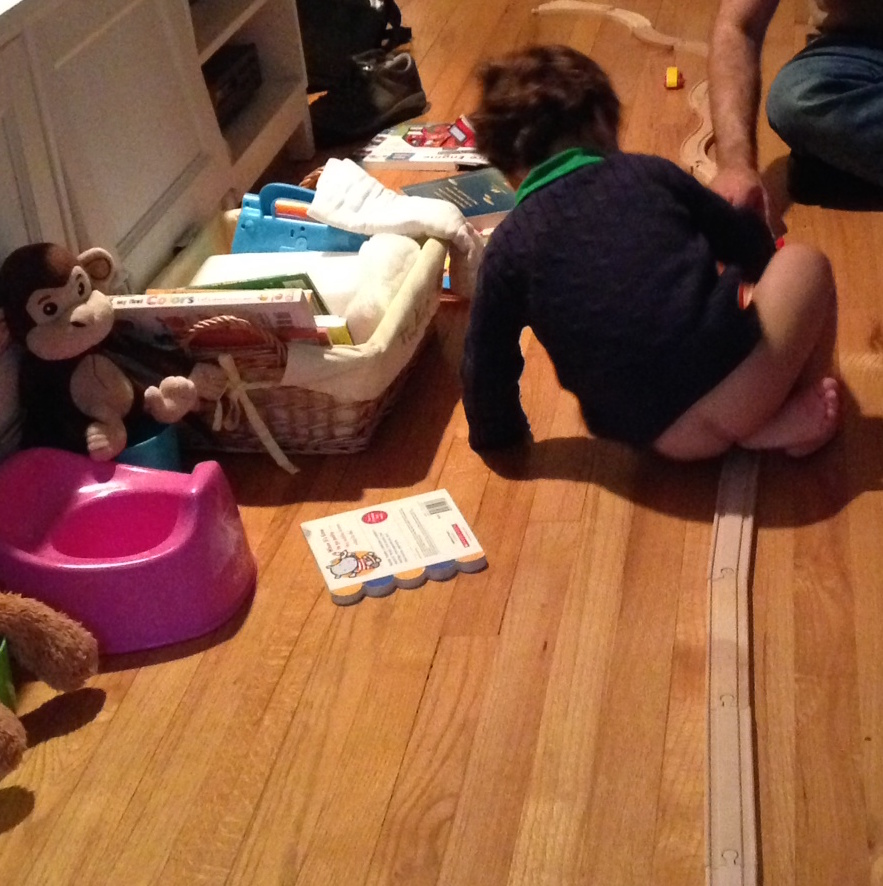 noah plays with trains