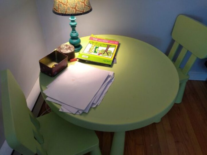 Small crafting table and chairs.