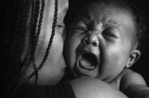 Baby crying. This is a struggle of a stay at home mother.