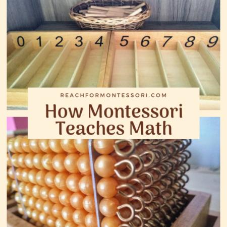 Montessori spindle box and Montessori golden beads